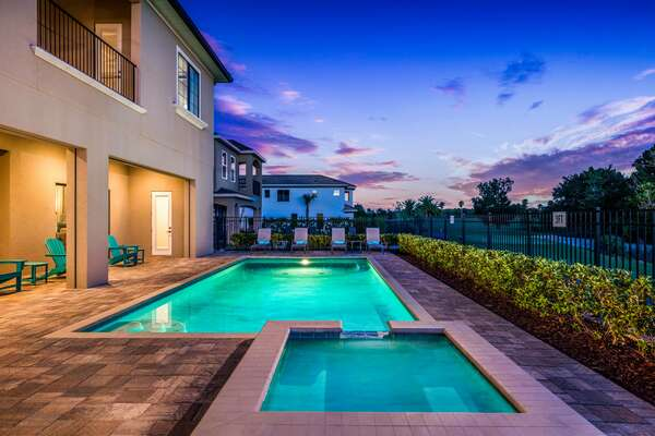 Enjoy the pool area in the evenings