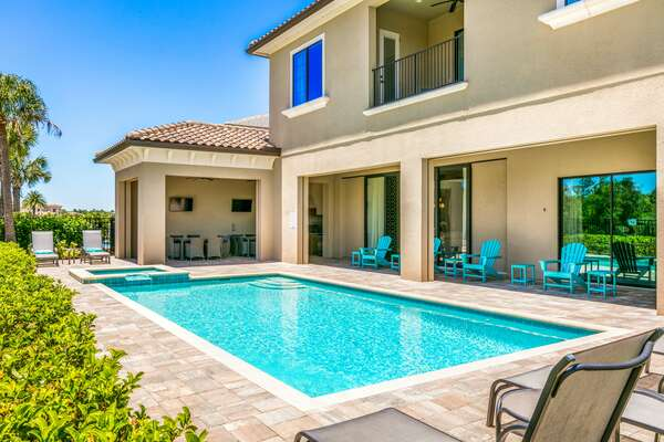 Your own south west facing private pool with spillover spa