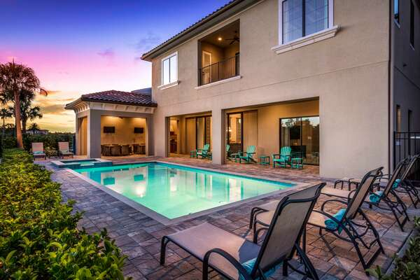 Everyone in your party will enjoy the pool area throughout the day