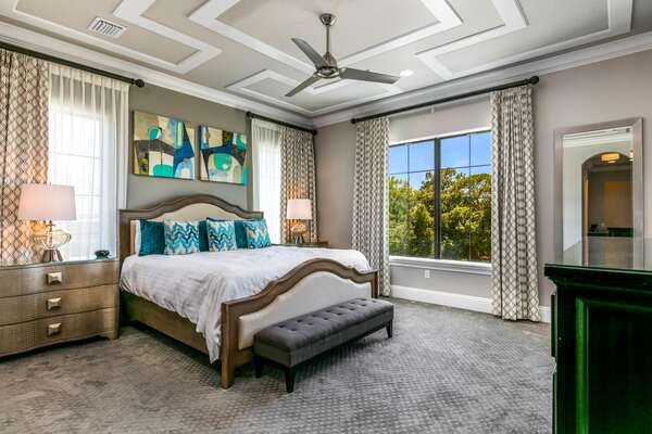 A master suite with king size bed and en-suite bathroom