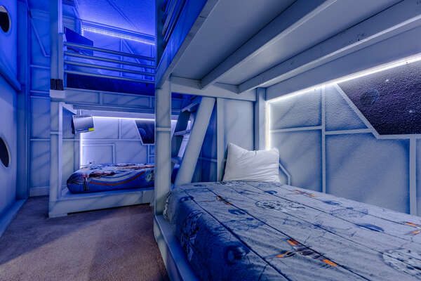The twin bunk beds will accommodate up to 4 guests