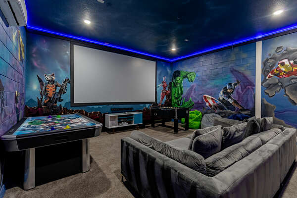 Get your game on or watch a movie in this amazing themed room