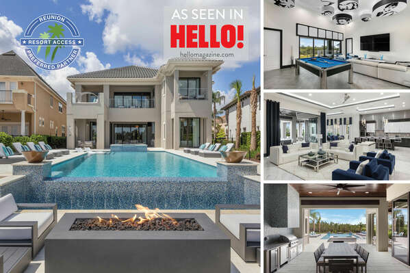 Welcome to Luxury at Reunion, an 8 bedroom villa with elevated views, infinity edge pool, 2 games rooms and more! | Photos Taken: May 2018