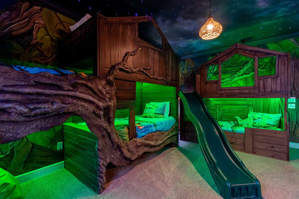 Jungle tree house bedroom with fiber optic ceiling so can feel like they are sleeping under the stars