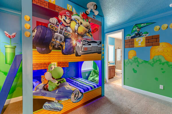 The fun never stops in this incredible kids bedroom inspired by characters from their favorite video game