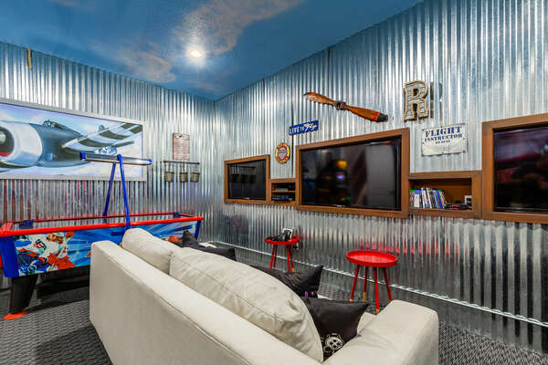Welcome to the Hangar the most thrilling room in the home, a private arcade.