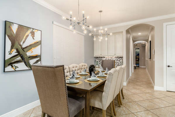 Eat a formal dinner in the dinning room with seating for 8