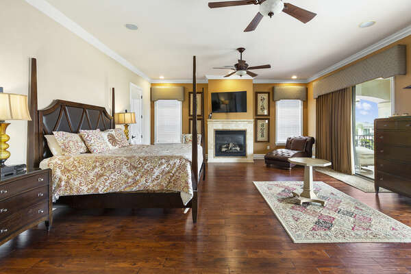Spacious upstairs master suite bedroom 1 (Fireplace not allowed for guest use)