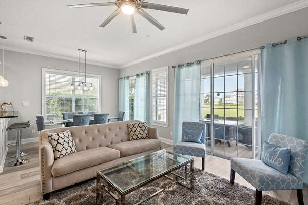 The living area allows a view to the golf course