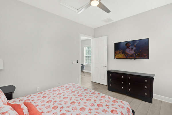 This bedroom located in the annex features a king size bed