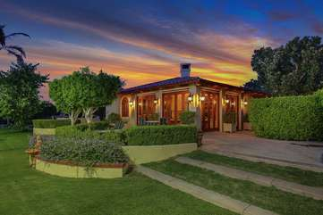 The separate 1,500 sq ft guest house is a good distance from the main house for privacy and has a balcony overlooking the tennis courts and second BBQ