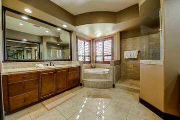 Huge master bath with walk in tub and shower Separate his & hers sinks
