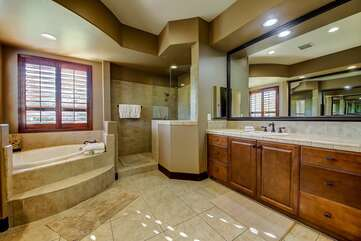 Huge master bath with walk in tub and shower Separate his & hers sinks Bathroom 1