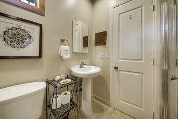 Suite 3 bath with large, tiled shower.