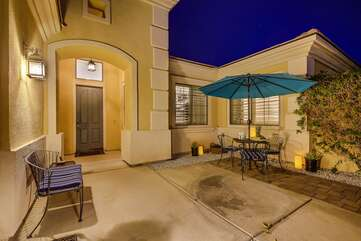 Gated front courtyard and seating areas