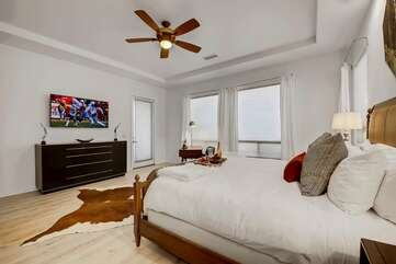 Sleep in and watch the game on the huge TVMaster bedroom has access to the backyard