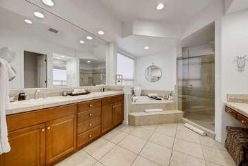 Large bathroom with wallk in roman tub
