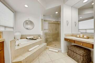Large walk in shower with seat Vanity with chair