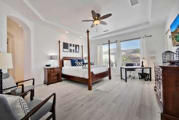 Master bedroom has a king size bed, desk, seating area and large HDTV Bedroom 1 sleep 2