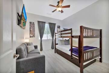 Bedroom 5 has a full size bunk bed with trundle and sofa sleeper. This room sleeps 8