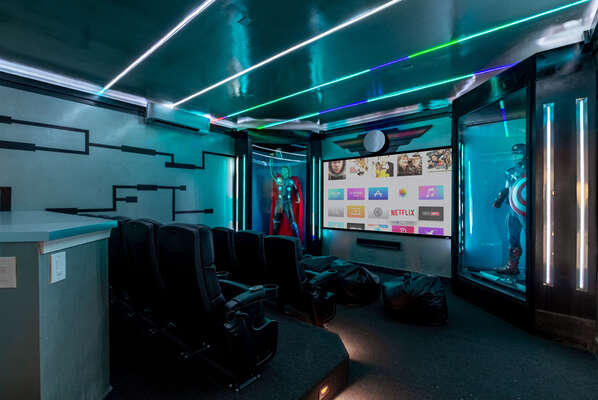 A private home movie theater downstairs has everything you need for a super movie night