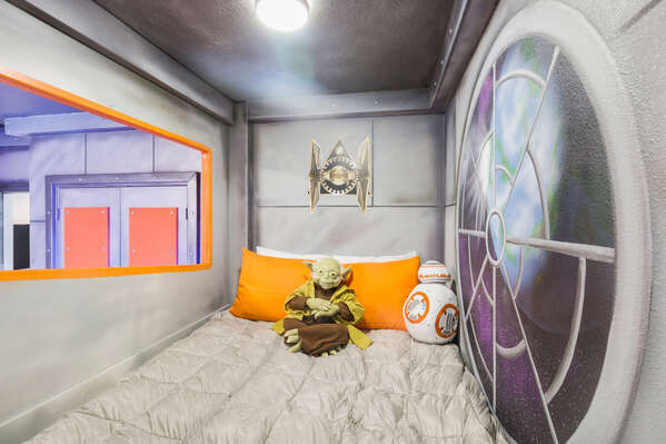 Relax in these fun beds after playing at the theme parks