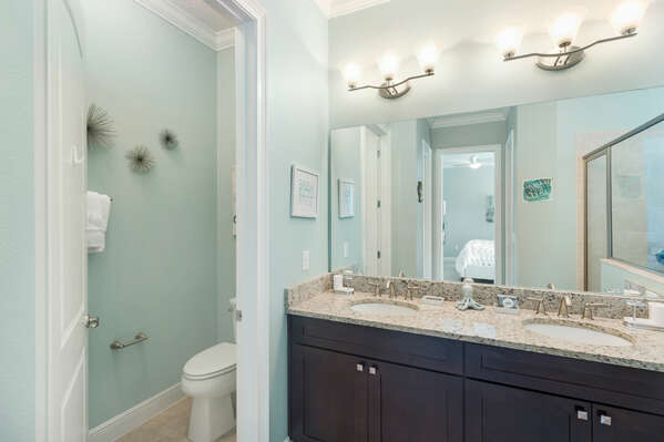 Plenty of space to get ready in the ensuite master bathroom
