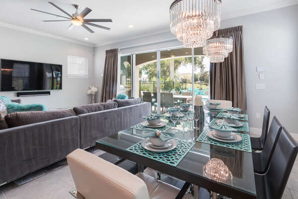 The modern dining room table seats 8