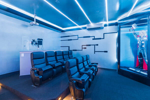 Featuring 9 comfortable recliners, 4 seats at the bar, a 120 inch movie screen, Apple TV 2 and PS4
