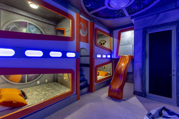 Venture upstairs to the custom built kids bedroom featuring some familiar friends