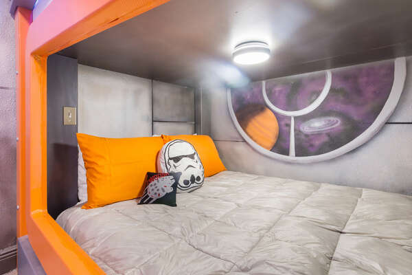 Each full sized bed has it's own light, perfect for reading late at night
