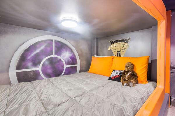 Each bunk also features custom artwork