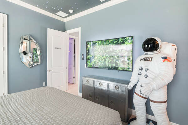 Featuring your own SMART TV and life-size astronaut