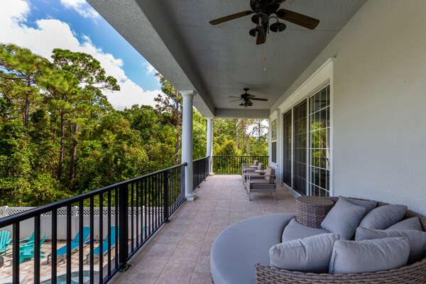 The second floor balcony is an amazing place to enjoy the beautiful Florida weather and incredible views