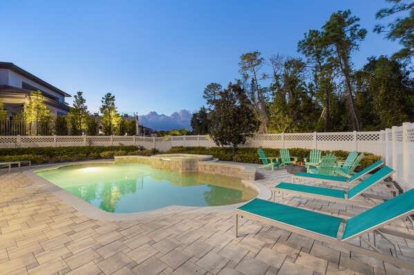 Take a twilight swim in the private pool