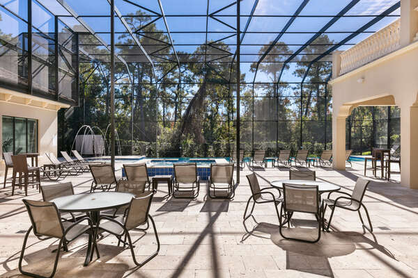 Soak up the sun with an oversized screened-in patio