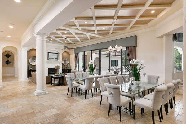 Elegant dining area for you and your family (Disclaimer: Fireplace(s) not allowed for guest use, homeowner use only.)