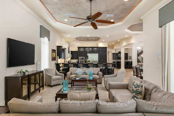 Gather around the second living area with a SMART TV and ample seating