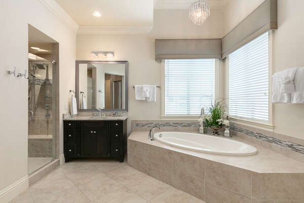 En-suite bathroom with large soaking tub and glass door walk-in shower