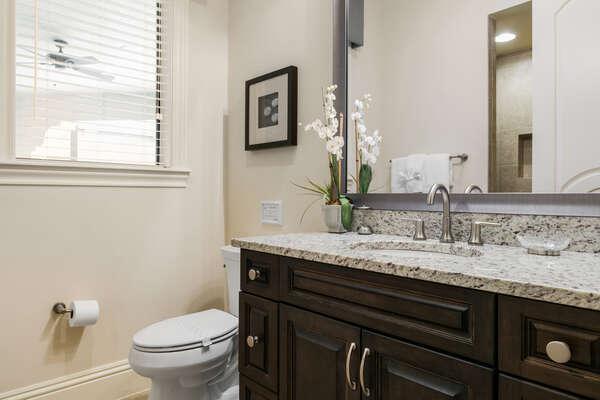 The en-suite bathroom with walk-in shower