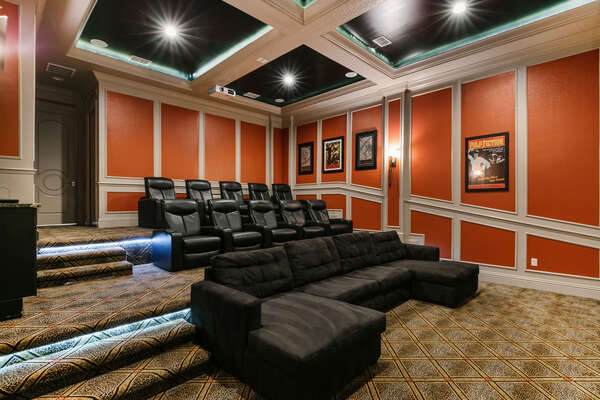 Sit back, relax, and enjoy your favorite movie in the theater room with recliner seats for up to 10 guests
