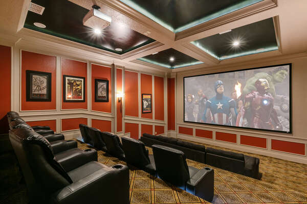 The theater room features a 119-inch projection screen, Apple TV, and sofa seating for 4