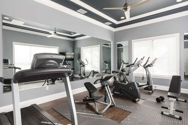 A fitness room with everything you need to continue your daily workout routine