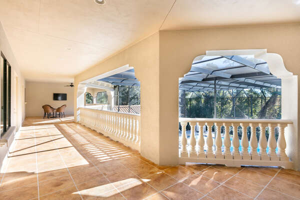 Lovely oversized second floor patio with great pool views