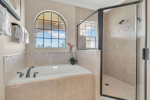 Complete with a walk in shower and garden tub