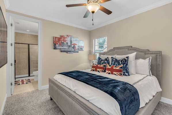 The third Master Suite features British themed decor and a comfortable King bed