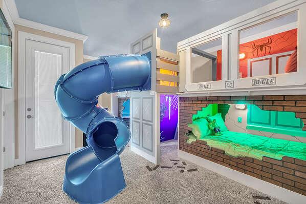 Kids will love this fun custom built room featuring a spiral slide