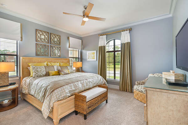 Master Suite 4 features a 50-inch TV and DVD Player located on the ground floor