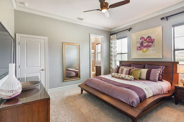 Master Suite 6 is located on the ground floor with a 50-inch TV and DVD Player