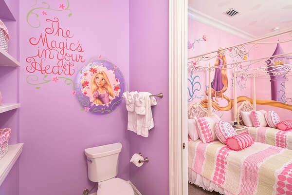 The custom bedroom will delight any Tangled fan